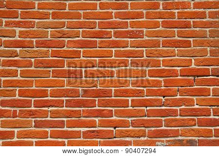Wall Of Orange Annealed Bricks