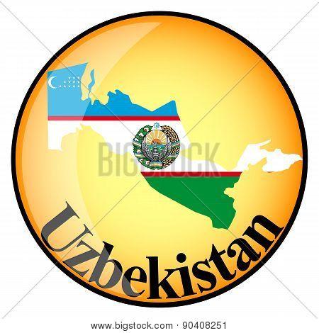 Orange Button With The Image Maps Of Uzbekistan