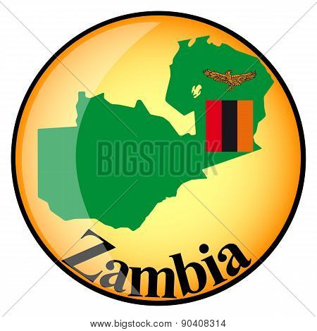 Orange Button With The Image Maps Of Zambia
