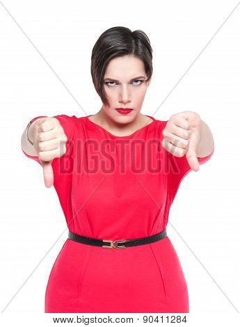 Beautiful Plus Size Woman In Red Dress With Thumbs Down Gesture Isolated