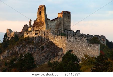 Evening View Of Ruins Of Cachticky Hrad - Slovakia