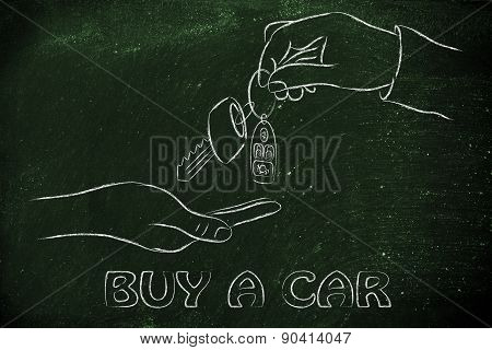 Hands Exchanging Car Keys With Remote