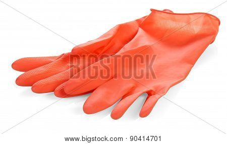 Pair of red latex gloves
