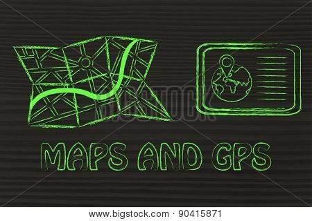 Paper Map And Tablet With Gps Information