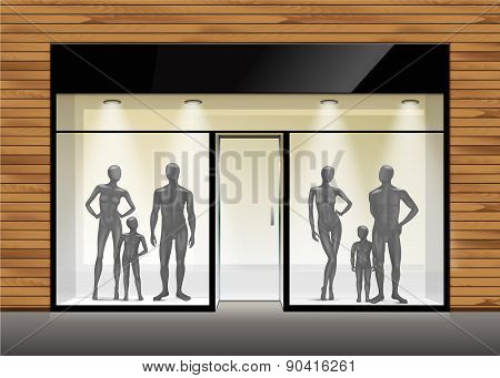 Vector Fashion Clothing Shop Boutique Store Front with Big Window and Mannequins poster