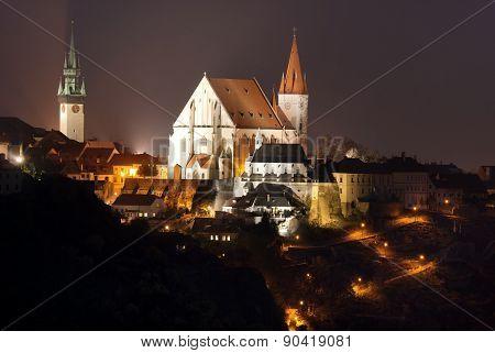 Night View Of Znojmo Town, Czech Republic