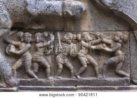 Mural Sculpture Of Warriors.