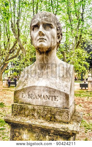 Bust statue of Donato Bramante (1444 – 11 March 1514) famous Italian architect who introduced Renaissance architecture to Milan and the High Renaissance style to Rome. Sculpture in Villa Borghese park Rome poster