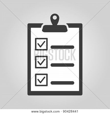 The Checklist Icon. Clipboard Symbol. Flat