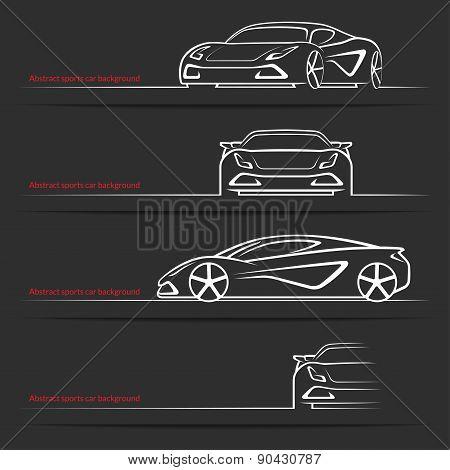 Sports car background set