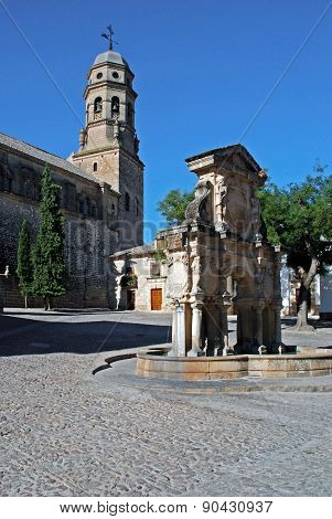 Cathedral Church of the Nativity of Our Lady (Santa Iglesia Catedral (Museo Catedralicio)) in the Plaza Santa Maria with fountain (Fuente de Santa Maria) in foreground Baeza Jaen Province Andalucia Spain Western Europe. poster
