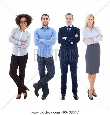 Set Of Young Business People Isolated On White