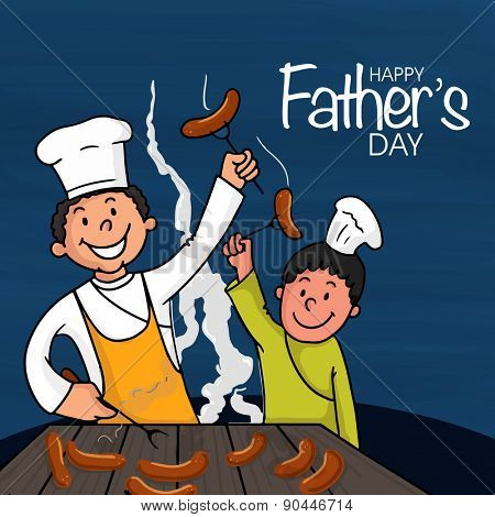 Happy Father's Day celebrations concept with Father and Son enjoying cooking together.