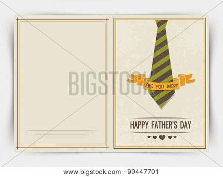 Happy Father's Day celebrations greeting card design with neck-tie and golden ribbon.