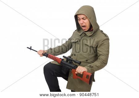 Man with a gun isolated on white poster
