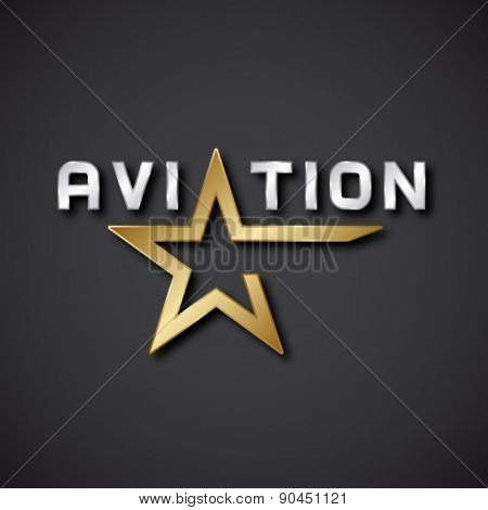 EPS10 vector aviation golden star inscription icon