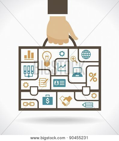 Infographic template with business compartments banner. Business bag with compartments and icons on the topic of business. File is saved in AI10 EPS version. This illustration contains a transparency