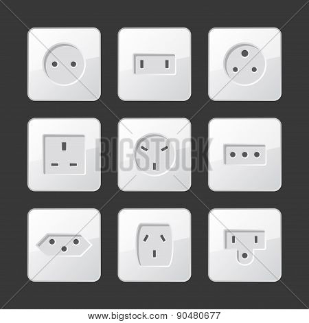 White Electric Outlet Sockets Set. Vector