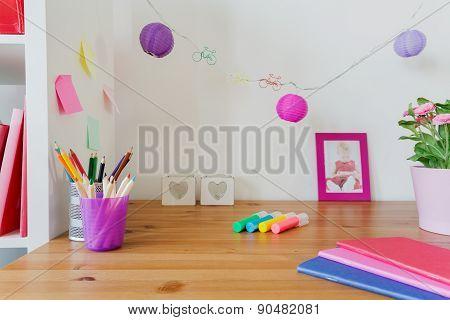 Desk Of Little Girl