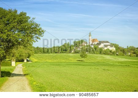 An image of the famous monastery Andechs in Bavaria Germany
