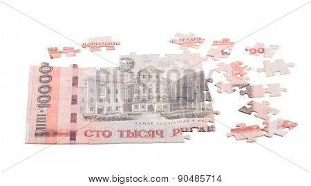 unfinished puzzle from Byelorussian roubles banknote isolated on white background poster