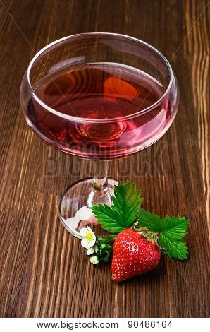 Red Beverage With Strawberry