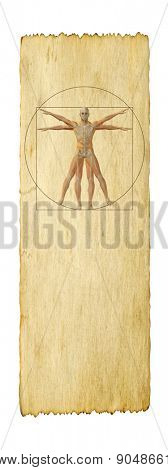 Concept or conceptual vitruvian human body drawing on old paper background banner