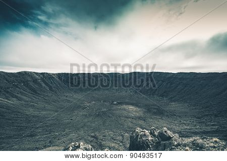 Crater Impact Site. Raw Meteor Crater Landscape. poster