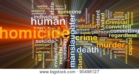Background concept wordcloud illustration of homicide glowing light