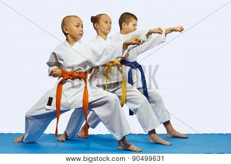 Children in karategi are beating blow gyaku tsuki