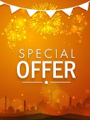 Beautiful special offer sale poster, banner or flyer decorated with shiny fireworks and mosque silhouette for Muslim community festival, Eid celebration. poster