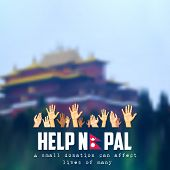 illustration of Nepal earthquake 2015 help and donation poster