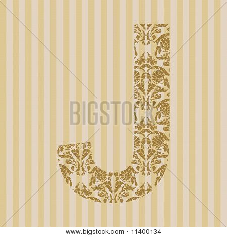 Floral font. Ornament letter on decoration background (see other in my portfolio). poster