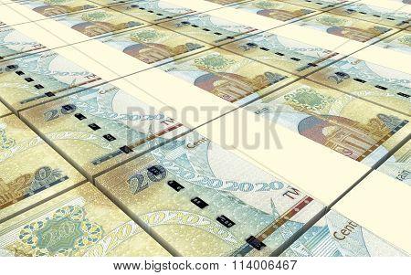 Bahraini dinar bills stacks background. Computer generated 3D photo rendering.
