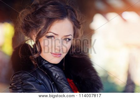 Portrait Of A Beautiful Woman Staring At The Camera