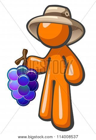 Orange Man With Grapes Vineyard Worker Hat