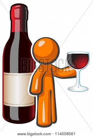 Orange Man Red Wine Glass And Bottle