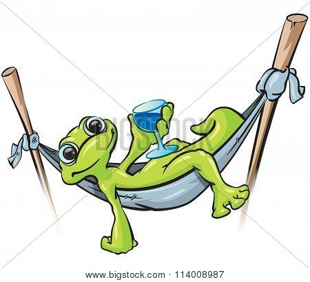 Gecko On Hammock With Drink