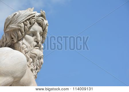 River Ganges Statue as Greek deity (with Copy Space)
