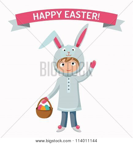 Greeting card Easter rabbit boy kid with basket vector illustration
