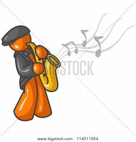 Orange Man Saxophone