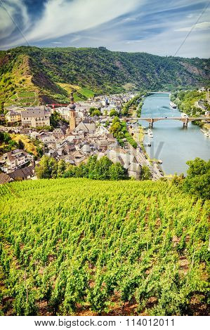 Top View Of Small Town Cochem From The Hill With Vineyards