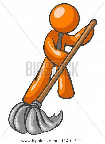 Orange Man Mopping Floor