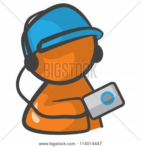 Orange Person  With Ipod