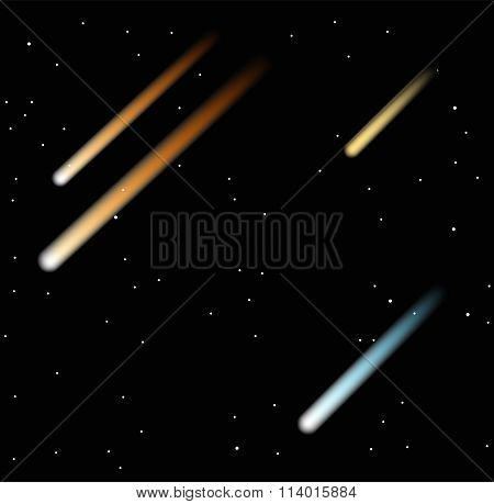 Comet vector illustration on the black background