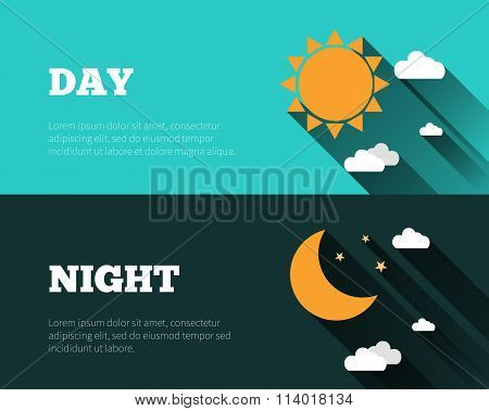 Sun, Moon And Stars, Clouds Icons. Day And Night Sky Vector Banners. Flat Style Illustration With Lo