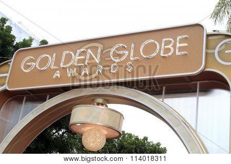 BEVERLY HILLS, CA - JANUARY 10: Golden Globes Awards sign at the 73rd Annual Golden Globe Awards at the Beverly Hilton Hotel on January 10, 2016 in Beverly Hills, California