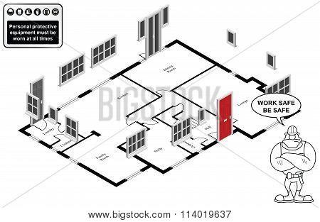 Isometric house floor plan