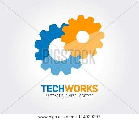 Gear logo template. Factory, business technology, mechanism. Clock engine, development, power, gear, onstruct, team connect. Logo icon. Vector element