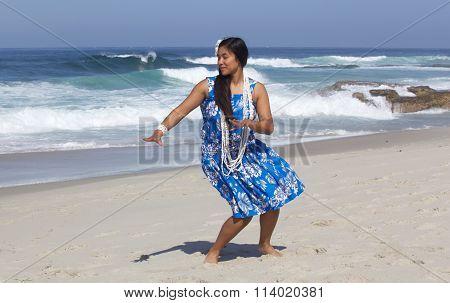 Beautiful Hawaiian Hula Dancer on the Beach
